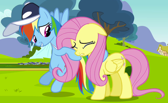Rainbow Dash consoling Fluttershy